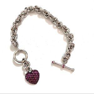 Kay Jewlers Sterling Silver Ruby Heart Bracelet
